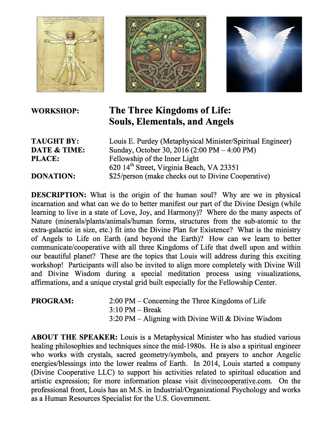 Workshop with Louis Purdey: The Three Kingdoms of Life: Souls, Elementals and Angels
