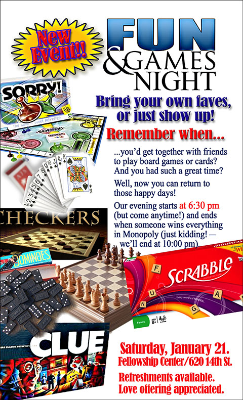 Fun and Games Night is back!  Get ready for your Favorite...
